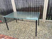 Black powder coated dining table with tempered glass top Lawnton Pine Rivers Area Preview