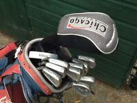 titleist DTR left hand 3/pw inc titleist stand bag