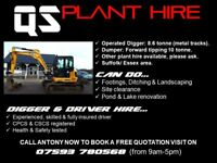 QS PLANT HIRE - Digger with driver for hire. Footings, Ditching, Landscaping, Pond & Lake renovation