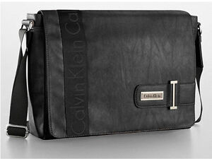 NWT Calvin Klein CK Men's Faux Leather Messenger Bag Black