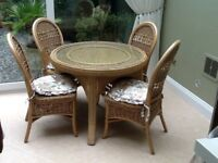 Cane glass table four chairs