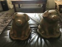 Two Pig Bronze Ornaments