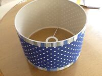 Pr lampshades sky blue with white spots, edged with bands of blue, lime and white stripes, VGC