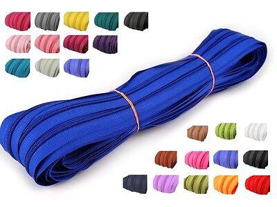 2 m endlos Reißverschluss 5 mm Laufschiene + 5 Zipper Meterware teilbar Farbwahl