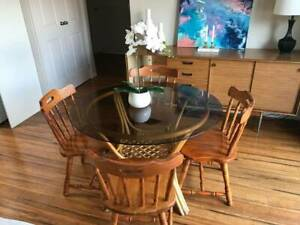 Smoked glass cane table and four chair dining set (or individually)