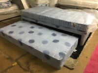 New Single Divan Bed with Mattress Complete with a Pull Out Guest Bed in Blue Pattern Fabric