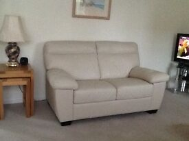 Harveys leather sofa and 2 chairs, beige, 19 months old
