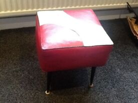 Retro grey and red foot stool