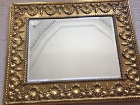 Vintage, antique, shabby chic hammered brass wall hanging mirror £25