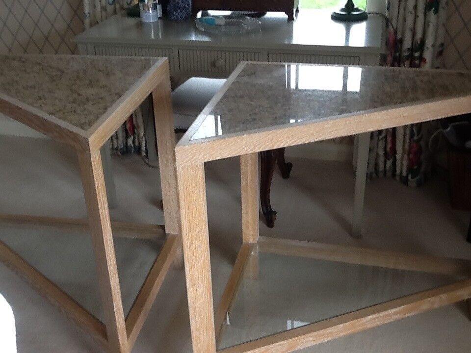 Bespoke Limewashed Oak, Granite and Glass side tables
