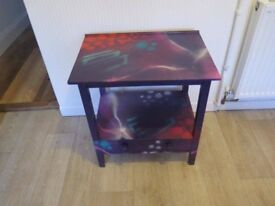 Small table with draw. Custom graffiti painted style
