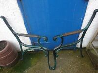 pair of garden bench ends