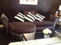 DFS black and grey 3 seater sofa with swivel recliner snuggle chair in red or black n white cover.