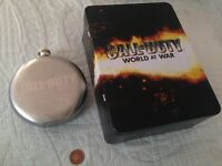 CALL of DUTY world at war tin and hipflask,like new.