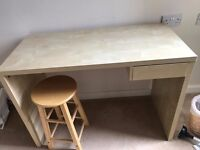 Wooden desk with stool