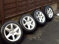 """Genuine Audi 17 """" Alloys wheels and tyres 5 x112 ET26 GREAT CONDITION !!!"""