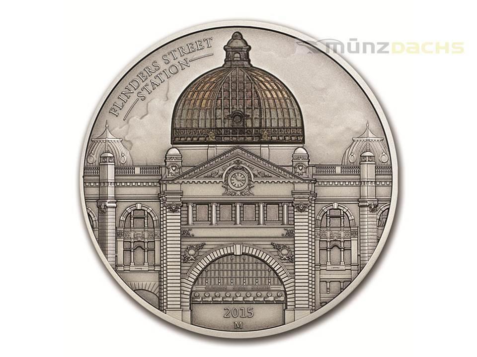 10 $ dollar flinders street station melbourne cook islands 2 oz silver 2015