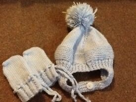 Baby boy hand knitted helmet hat and mittens