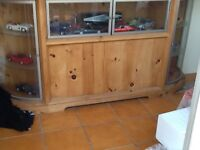 Display cabinet solid wood with glass top and doors