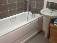 Bathroom sink and pedestal with mixer tap included