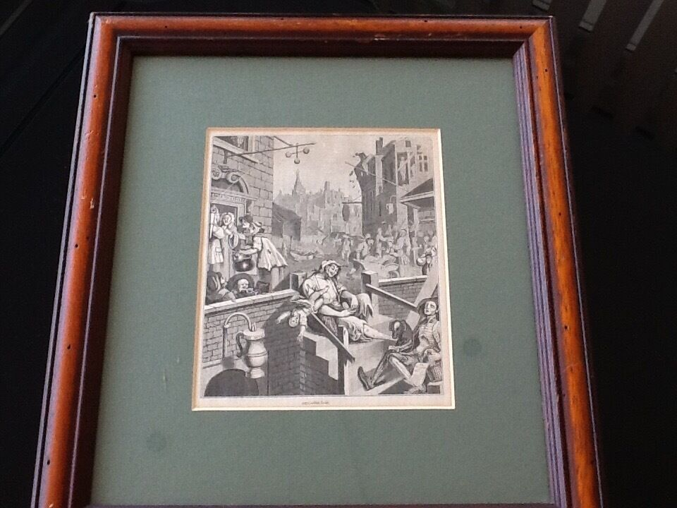 """William Hogarth picture printsin Torquay, DevonGumtree - 2 William Hogarth prints ,entitled """"Gin Lane"""" and """"beer Lane"""" These prints were first published in 1845. They are in wooden frames with a green inlay. The prints measure 6"""""""" x 7 1/2"""". The frames are 14"""" X 13"""""""
