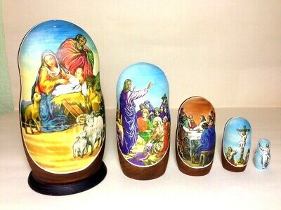 "New Hand Painted 7"" Christ Life Christmas Nativity Russian Nesting Doll 5 Pc Set"