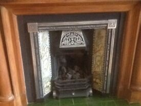 Reproduction Victorian fireplace insert, cast iron & tiles with convector