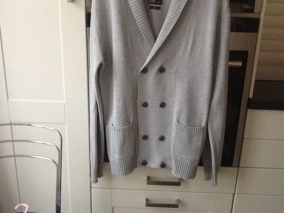 River Island perfect cotton men's double breasted large grey cardigan