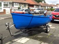 12ft Fibreglass Fishing Boat. Trailer and Outboard