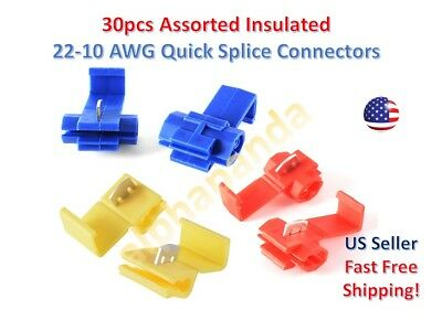 30x Insulated 22-10 Awg Quick Splice Wire Terminal Connectors Assorted Combo Kit