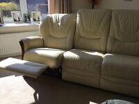 Arighi bianchi reclining leather cream sofa