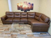 Outstanding Brown Leather Corner Sofa