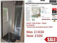 Matki black 1200 sliding door shower enclosure