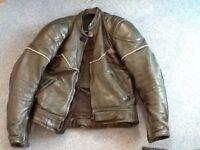 Men's short leather motorbike jacket.