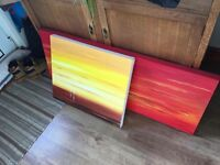 2 sunset canvas picture paintings