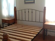 Wooden and iron bed and matching bed side tables Mosman Mosman Area Preview
