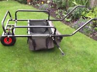 Fishing wheel barrow that folds flat and fits neatly into any car boot