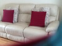 Outstanding 3 Seater Cream Leather Recliner Sofa