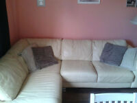 Cream coloured leather corner sofa
