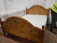 Pine double bed frame with mattress in excellent condition
