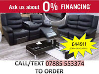 beautiful bonded leather 3 plus 2 recliner sofa suite in black or brown
