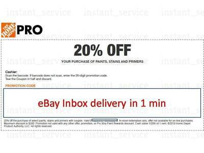 One~1x~ Home Depot Coupon 20% OFF Paint&Stain InStoreOnly lNSTANT~FAST~SENT-1min