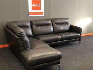 "$1,000 0FF TOP GRAIN Sectional from COSTCO.CA -The ""Jet"" genuine Leather sectional In Stock @ DEX10"