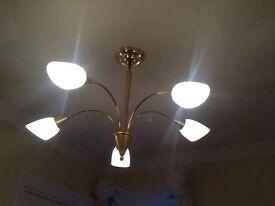 4 Brushed brass light fittings