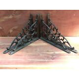 4 Leaf & Vine Shelf Brace Shelf Bracket Corbel Cast Iron Rustic FREE SHIPPING