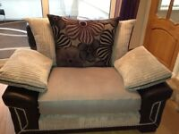 SCS 2 seater sofa and cuddle chair in jumbo grey cord and black frame. Excellent condition..