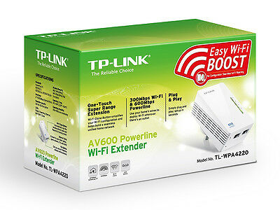 TP-Link 300Mbps AV600 WiFi Powerline Extender Gaming Homeplug Adapter TL-WPA4220