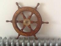 Hard wood, brass inserts ships wheel