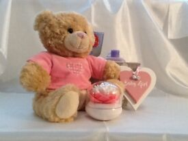 """It is a gift parcel for a new arrival. All teddies are""""Keel""""bears and some of the items handmade"""