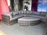 New Maze Rattan Deluxe Barcelona Corner Group with Footstool in Grey